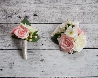 Wedding Boutonniere and Corsage Set - Blush Pink and Ivory Rose Boutonniere and Corsage