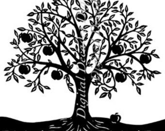 Apple Tree Orchard Fruit - Digital Image - Vintage Art Illustration