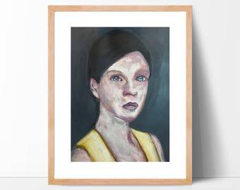 """Original Acrylic portrait 16"""" x 23"""" - What Remains - art on paper"""