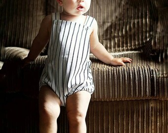 Baby Boy Romper, Summer Romper, Black and White Stripe, Kids Romper, Cotton Romper, Stripe Clothes, Baby Clothes, Boys, Girls, Monochrome