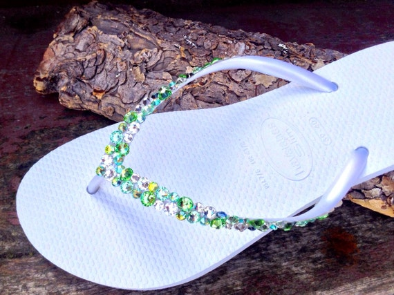 White Green Havaianas Slim Flip Flops Custom w/ Swarovski Crystal Rhinestone Sea Glass Slipper Beach Wedding Bling Peridot Jewel Bridal shoe