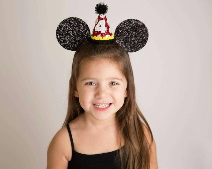 Glittery Mouse Ears Headband || Birthday Ears || Minnie Mouse Birthday  || Minnie Ears || Mickey Mouse Birthday || Minnie Mouse Headband