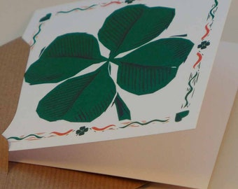 Good Luck - four leaf clover linocut - St Patrick's Day blank greetings card - Contribution to Alzheimer's Society with each purchase