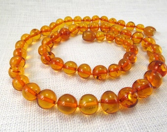 """Baltic Amber Baroque Necklace Cognac Chips 18.5"""" Natural Amber Beads 15,8 gram"""