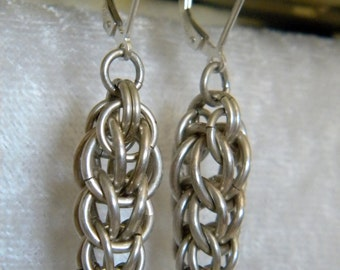 """SALE   SALE  Sterling Silver Jump Rings Chainmaille Dangle Earring Earrings w/ Leverbacks 10.5 grams, 2"""" Long, Inverted Triangle"""