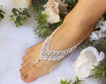 Wedding Rhinestone Foot Jewelry,Bridal Barefoot Sandal,Silver Foot Jewelry,Footless Sandals,Beach Sandals,Bridesmaid barefoot Sandals-SD042