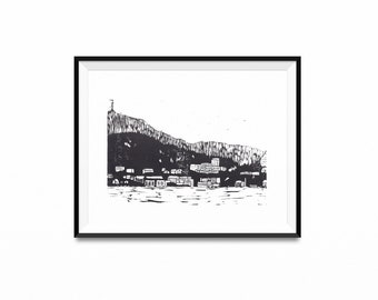 Handprinted Bergen Landscape, Handprint, Original Art, Home Decor, Linocut, Printmaking