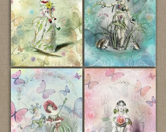 Fairies and Butterflies - Digital Collage Sheet Download   4 different Designs