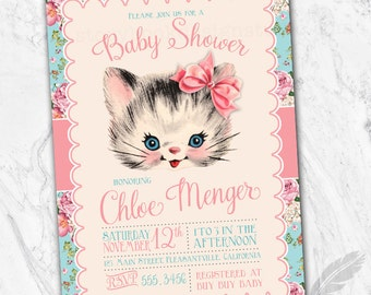 Vintage Kitten Baby Shower Invitations , kitty, cat, floral, shabby chic, printable