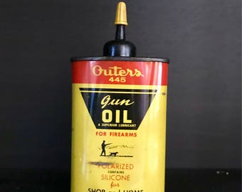 Vintage Outers 445 Gun Oil Can, J.C. Higgins Outers Gun Handy Oiler Tin Can with a spout