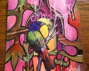Dream mixed media painting with bird.