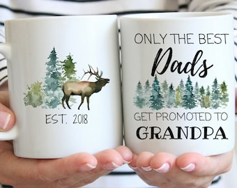 Only the Best Dads Get Promoted to Grandpa Mug, New Grandpa Gift, Pregnancy Announcement Mug, Grandpa To Be Mug, Pregnancy Reveal Mug