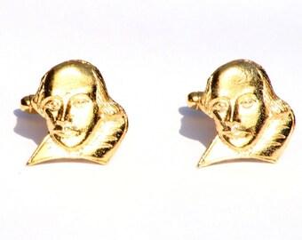 Shakespeare Gold Plated Cufflinks UK Handmade Literary Gift