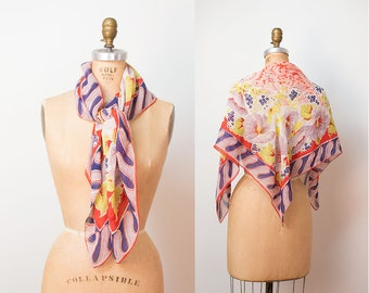 1940s Floral Print Scarf / 40s rayon scarf