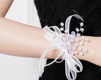 Limited Edition Frosted Iridescent White Corsage - White Wrist Corsage -  Wrist Corsage