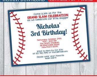 baseball invitation / baseball party invitation / baseball birthday invitation / baseball invites / baseball birthday invites / INSTANT