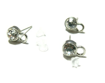PAX 10 studs Rhinestone with clip and push PS1153318
