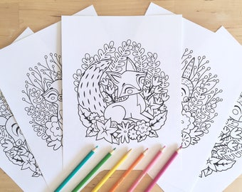 5 Printable Coloring Pages - Woodland Animal Colouring Pages, Instant Digital Download, PDF Colouring Pages, Fox Raccoon Bear Bunny Deer