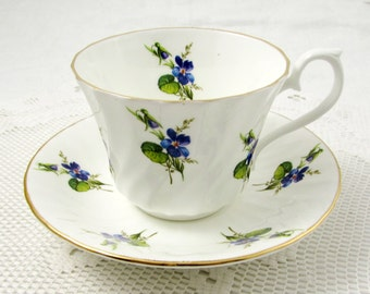 Royal Kendal Tea Cup and Saucer with Blue Flowers, Vintage Bone China