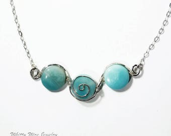 Amazonite Necklace; Wire Wrapped in Sterling Silver with Choice of Chain Length