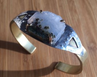 Moss Agate, Brass, and Sterling Silver Cuff