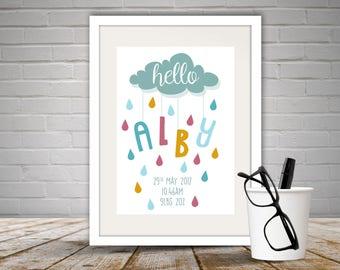 Personalised 'Hello' Baby Print Unframed, Newborn gift, New Baby Gift, New Parent Gift, Nursery Decor, Home Decor, Hello Baby, Free P&P
