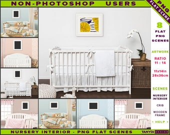 Nursery Interior Styled PNG Scenes | Non Photoshop | 11x14 Wooden Frame On  Nursery Wall