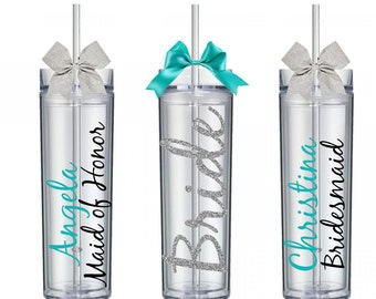 SET OF 3 Personalized Skinny Tumbler - Bridesmaid Gift - Bridesmaid Tumbler - Gifts for Bridesmaids