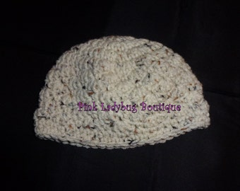 Hand Crocheted Baby Hat - Ecru Fleck -  Ready to Ship