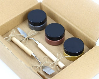 Block printing ink kit. 3 metallic inks, gold, silver & bronze with spatulas. Christmas palette