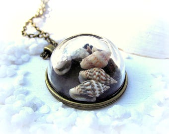 Necklace shell Starfish glass dome