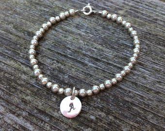 Sterling Silver beads bracelet, initial bracelet, charm bracelet, personalized bracelet,  Sterling silver handstamped bracelet, gift for her