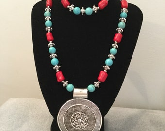 Turquoise and Coral necklace and bracelet set.