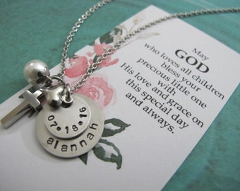 BAPTISM GIFT, Christening gift, Baptism Gift Girl, Personalized name Baptism Cross necklace - Custom Christening Keepsake, Baptism Keepsake