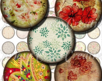 Grungy Flower Fun 1 inch Circle Rounds Digital Collage Sheet - J INSTANT Download - Bottle cap Pendant Jewelry - Printable Download