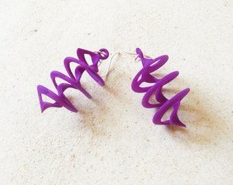 Auger - Purple 3D Printed Earrings | 3D printed jewelry