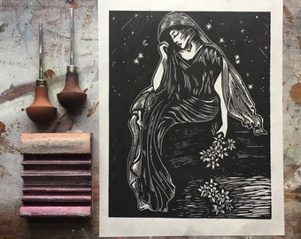 Persephone - Oh Fate to Pluck the Narcissus - Hand Printed Linocut- Original Limited Block Print Art - Greek Mythology