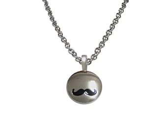 Shiny Circular Hipster Mustache Pendant Necklace
