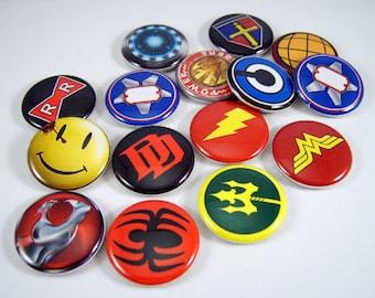 Superheros Magnets, Superheros Pins, Superheros Cabochons, Superhero Party Favor, Superhero Wedding Favors, Fan Collection No. 2