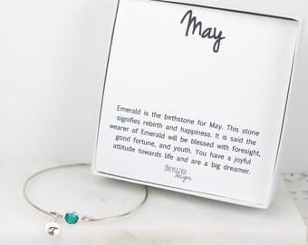 Personalized May Birthstone Swarovski Silver Bracelet, Emerald Sterling Silver Bracelet, May Birthday, Personalized Bracelet