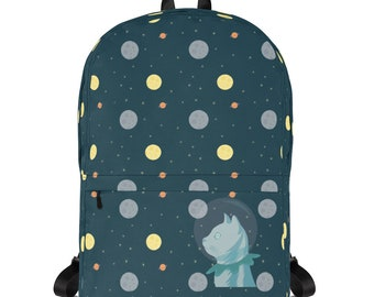 Space Backpack, Small Backpack, Cat Backpack, Kids Backpack, Small School Bag, Space School Bag, Blue Backpack, 15 Inch Laptop Backpack