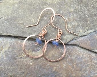 Rose gold earrings - sapphire earrings, rose gold hoop earrings, september birthstone, gold filled earrings