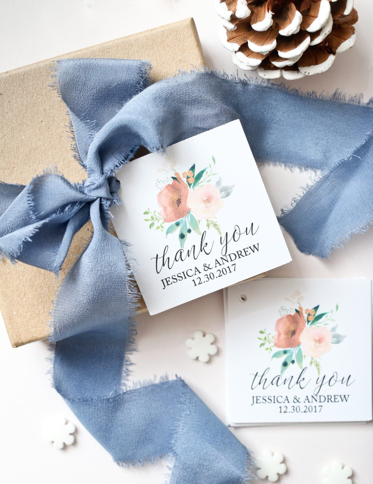 Thank You Favor Tags Winter Wedding Favor Tags Set of 40