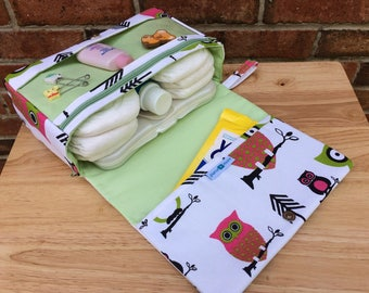 New and larger hooty owl diaper clutch, baby shower gift for new parents, diaper purse with clear zipper pouch, diaper bag organizer