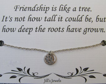 Best Friend Necklace - Long Distance Friendship - Friendship Necklace -Best Friend Gift - Friends Forever - Quote Gift - Leaf Necklace - BFF