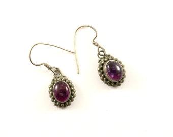 Vintage Purple Amethyst Dangle Earrings Sterling Silver ER 15