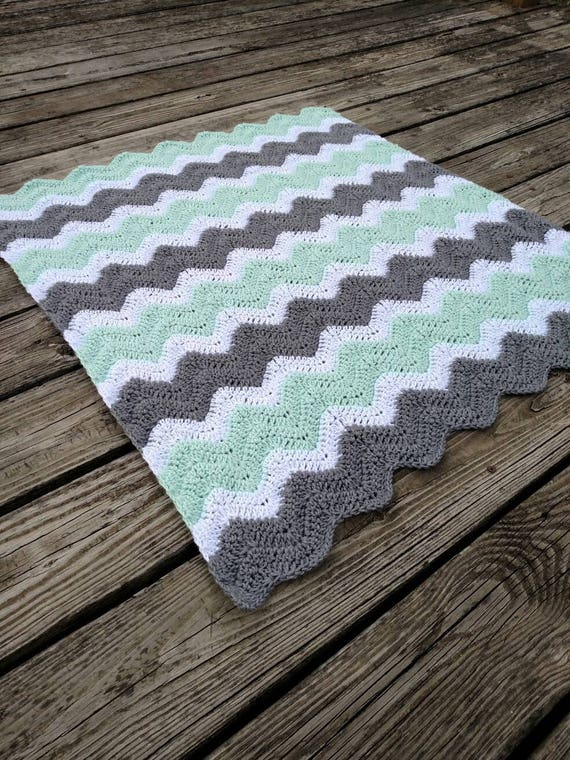 Mint Green Crochet Chevron Baby Blanket Mint Green Gray