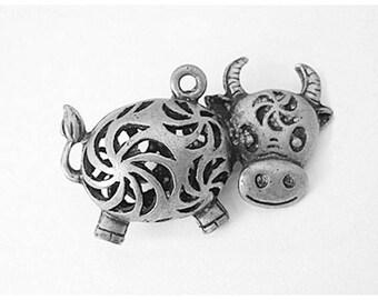 3 Cute Cow Farm Animal Antique Silver Charms 38mm x 24mm (012)