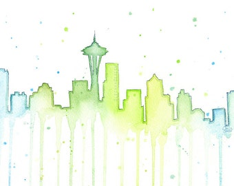 Seattle Skyline Watercolor, Seattle Silhouette Painting, Seattle Art Print, Space Needle 12th Man Art