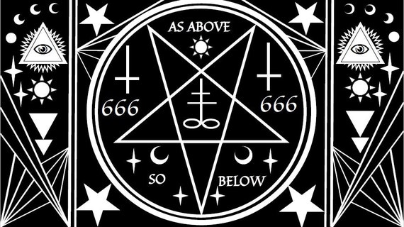 Satanic Symbols And Shapes Adult Coloring Page